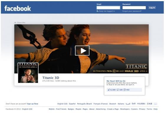 Pagina de logout do Facebook