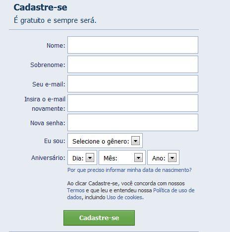 criar facebook gratis
